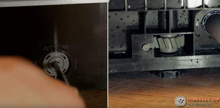 Фото – вариант устройства для регулировки высоты задних ножек посудомоечной машины