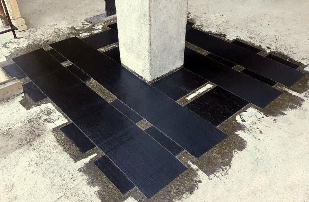 Усиление верхней грани плиты перекрытия углеродной лентой