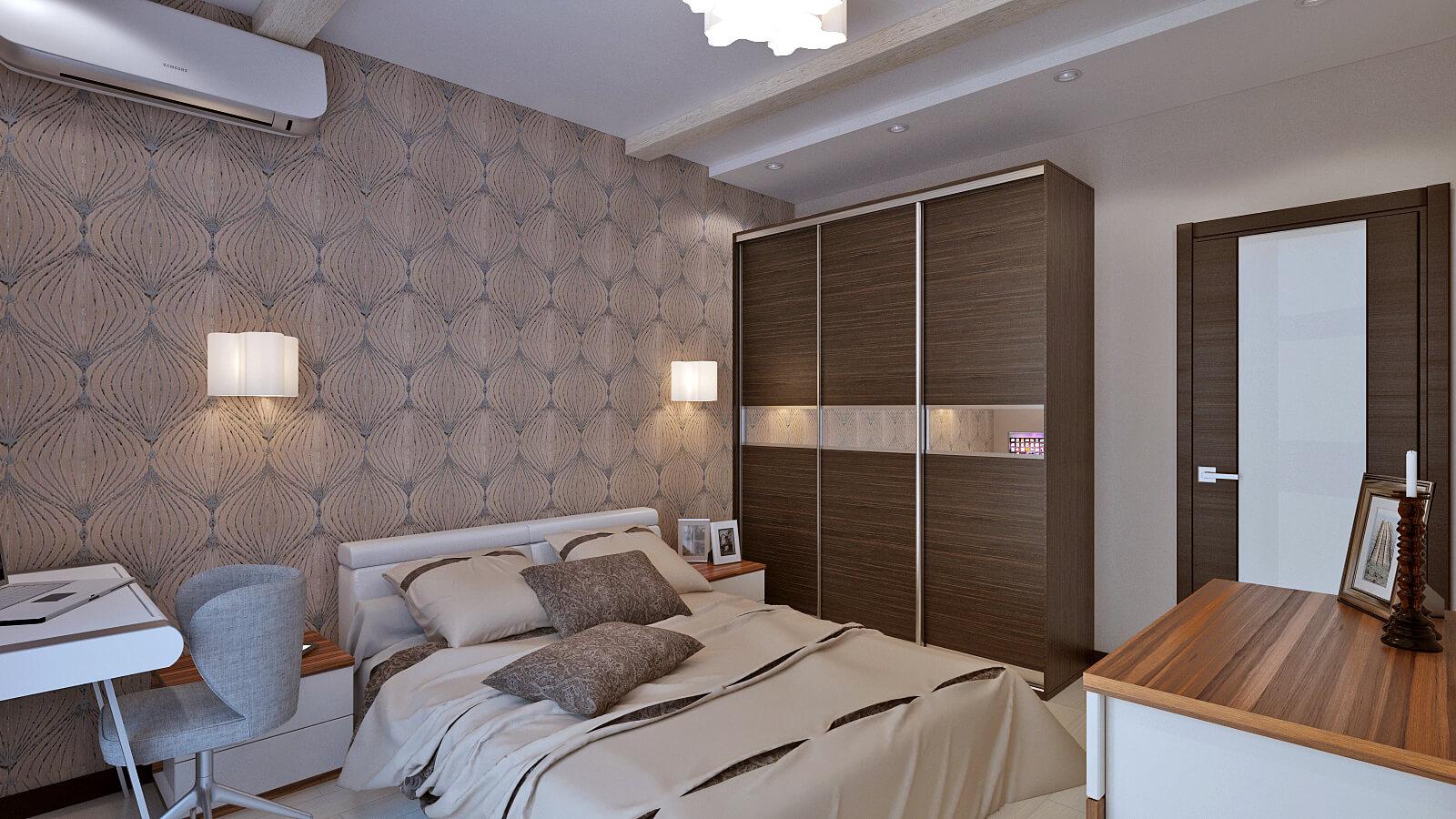 Симметричное расположение относительно кровати