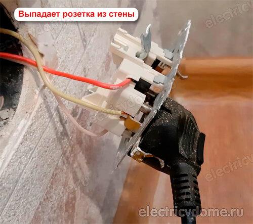 выпадает розетка из бетонной стены
