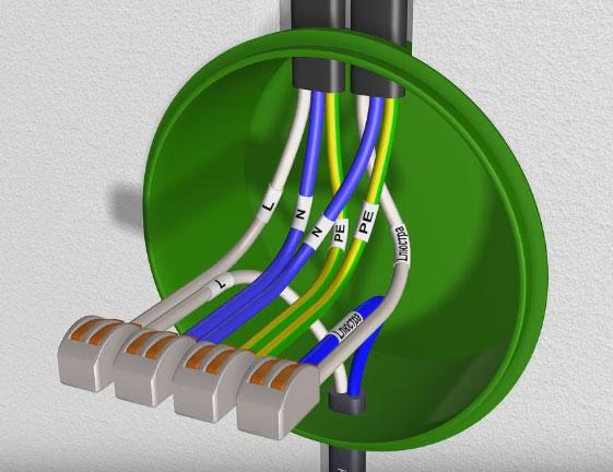 как правильно соединить провода в распаечной коробке на люстру от диммера