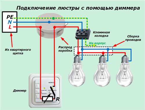 схема подключения люстры через диммер