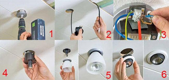Отверстия для точечных светильников
