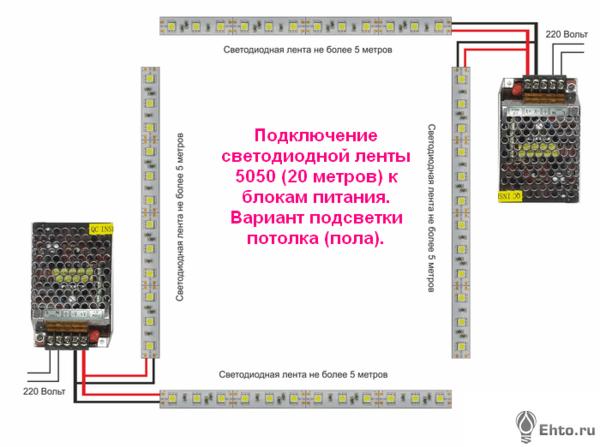 Фото подсветки потолка из четырех лент и двух блоков питания