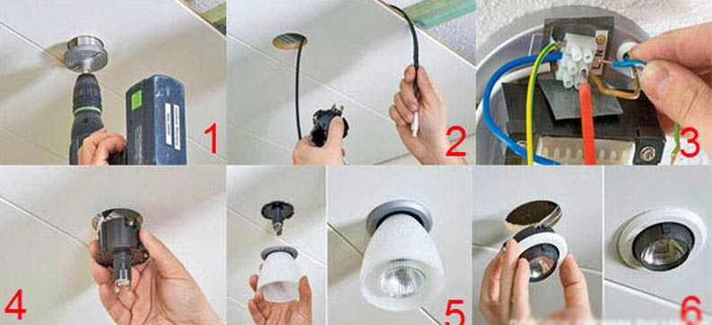 установка светильника