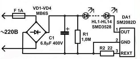 Схема LED-А60
