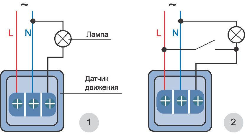 Варианты подключения датчика движения