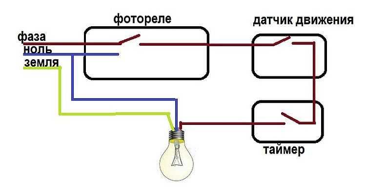 Подключение светильников через фотореле, датчик движения и таймер