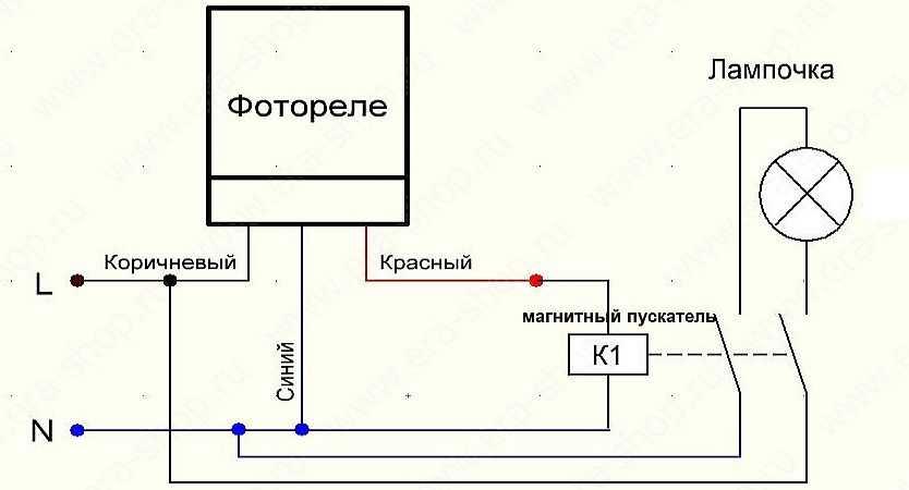 Схема автоматизации освещения двора с использованием фотореле и магнитного пускателя (контактора)