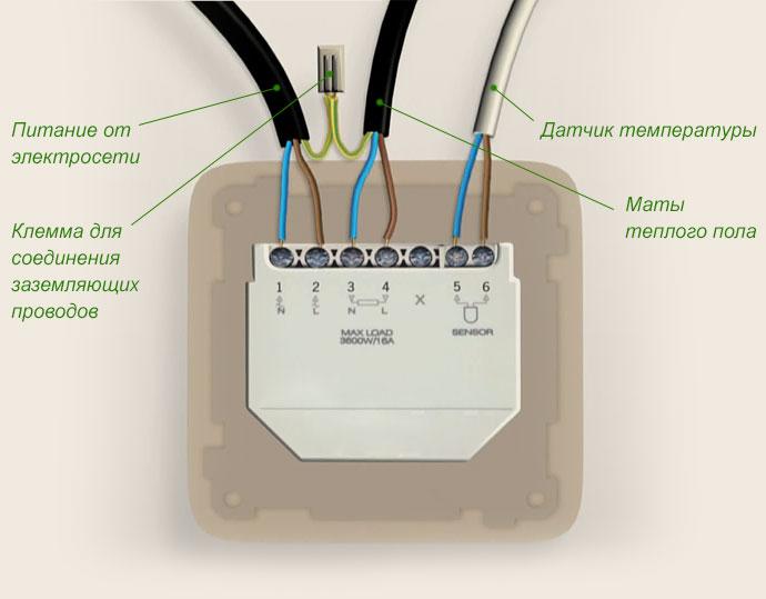 Схема подключения терморегулятора пленочного теплого пола