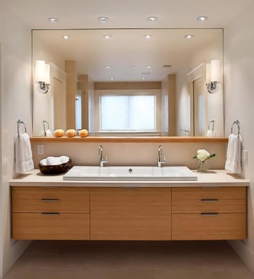 Освещение зоны зеркала в ванной
