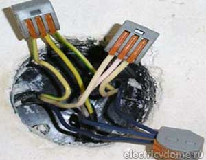 соединение проводов с помощью клемм