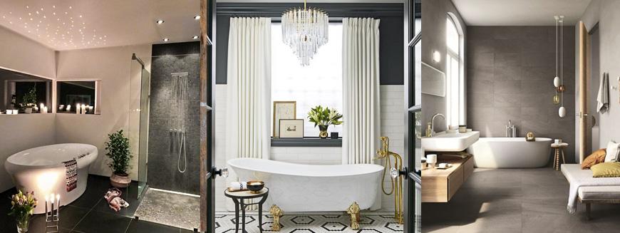 интересное освещение в ванной