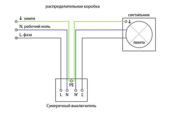 Подсоединение сумеречного выключателя напрямую