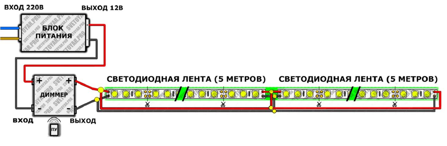 Схема подключения ленты