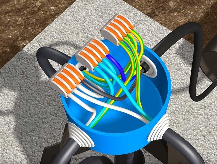соединение проводов в уличном светильнике на клеммники ваго