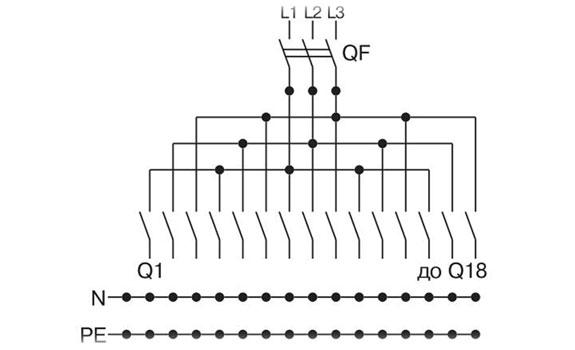 Типовая однолинейная схема щита освещения (ЩО) на 18 групп.