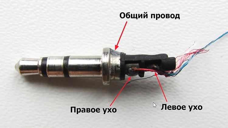 Проводники гарнитуры имеют внутри три соединённых между собой кабеля: два аудиовыхода и один — заземление. С такой компоновкой нужно быть внимательнее.